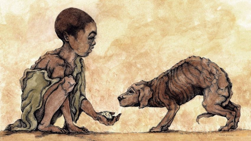 Hunger, Drawings / Sketch, Illustration, Paintings, Fine Art, Realism, Animals, Children, Inspirational, Multicultural / Ethnic, People, Spiritual, Acrylic, Ink, By Rebecca Suzanne Magar