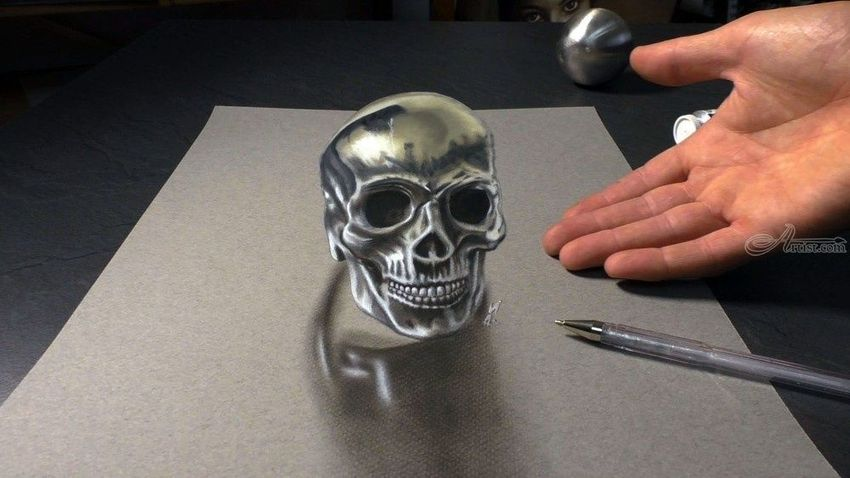 hyperrealism drawing of a human skull as optical illusion 3d realism drawing painting