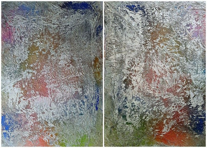 I and I (n.402) - 140 x 100 x 2,50 cm - diptych, Paintings, Abstract, Landscape, Acrylic, By Alessio Mazzarulli