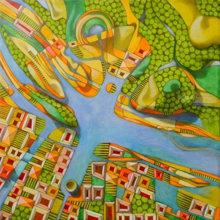 Imaginary map of Turin, Paintings, Abstract, Composition, Documentary, Canvas, Oil, By federico cortese