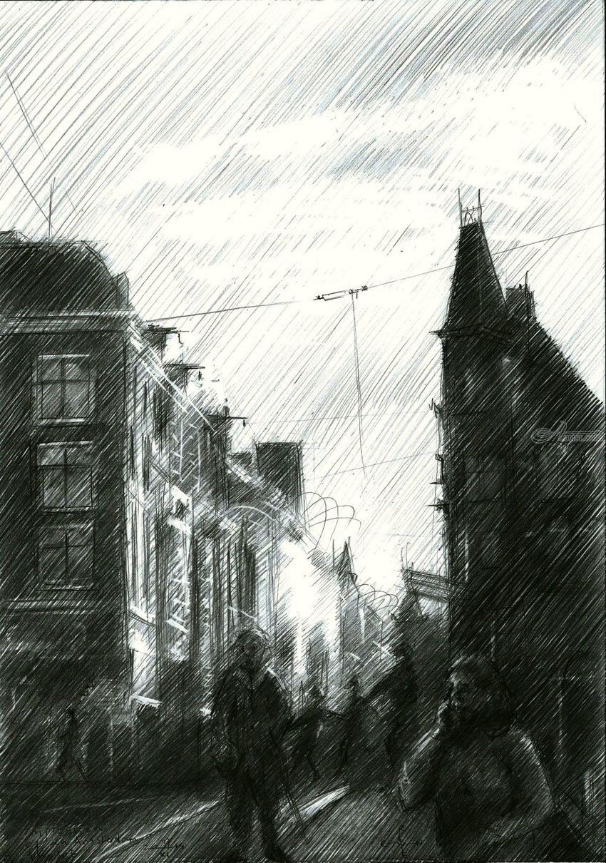 Impression of an Amsterdam sunset - 17-11-14, Drawings / Sketch, Abstract, Fine Art, Impressionism, Realism, Surrealism, Architecture, Cityscape, Composition, Figurative, Inspirational, Landscape, Pencil, By Corne Akkers