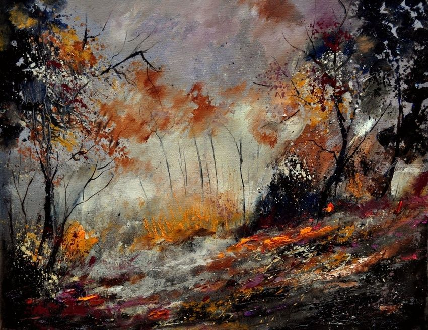 in the wood 450160, Paintings, Expressionism, Landscape, Canvas, By Pol Henry Ledent