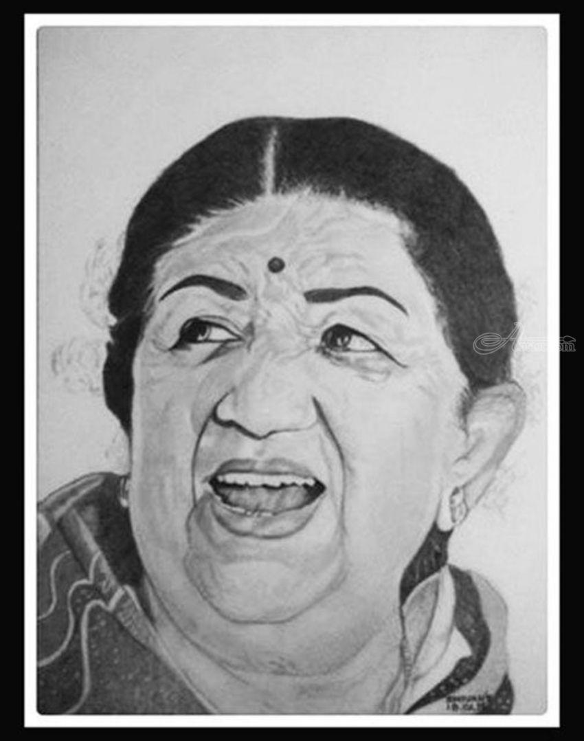 Indian singer lata mangeshkar drawings sketch fine art portrait pencil