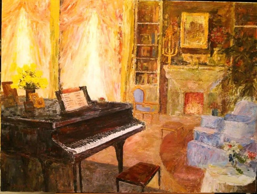 Interior With Piano, Paintings, Impressionism, Daily Life, Acrylic, By  Slobodan Dusan
