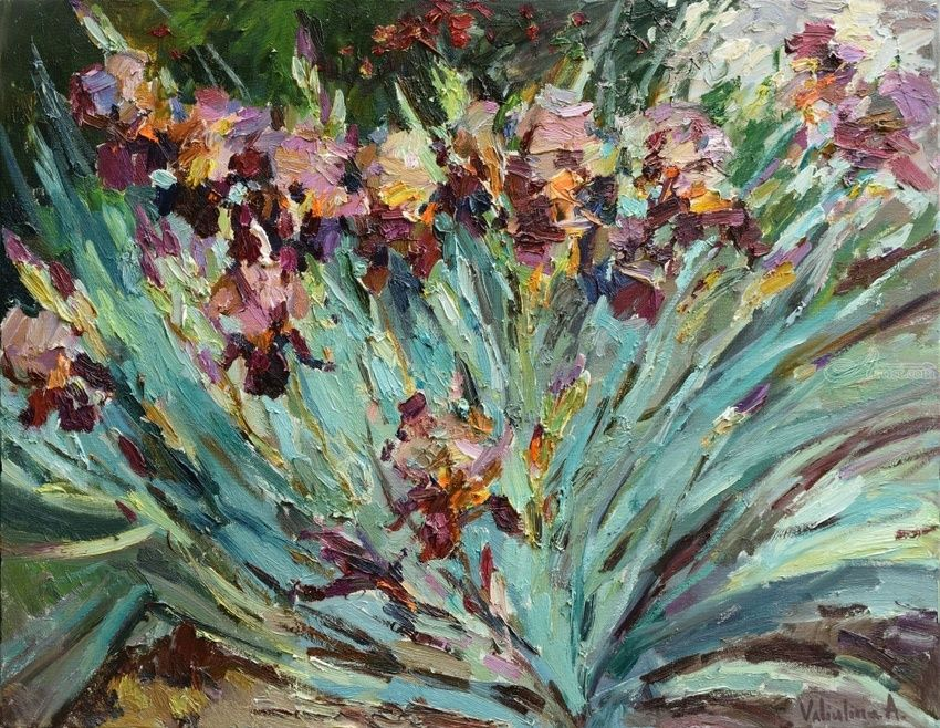 Irises floral painting, Paintings, Impressionism, Floral,Nature, Oil, By Anastasiya Valiulina