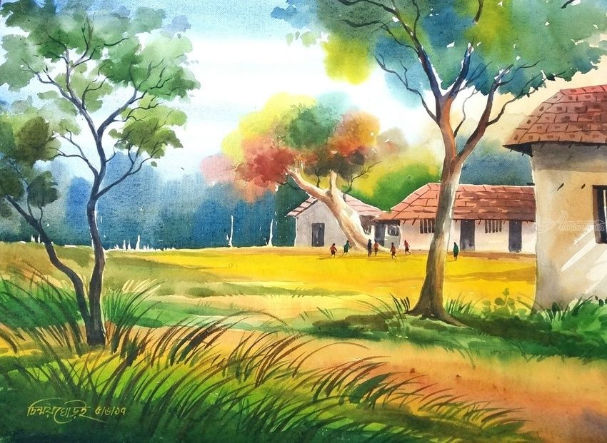 Joy Of Village Paintings By Chinmoy Ghorai Artist Com