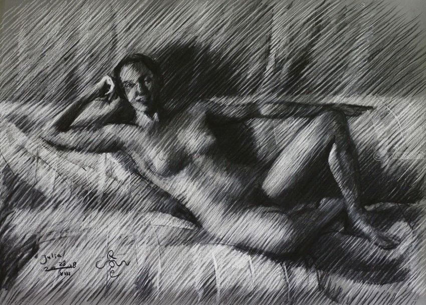 Julia -28-08-18, Drawings / Sketch, Fine Art, Impressionism, Realism, Anatomy, Composition, Figurative, Inspirational, Nudes, People, Pastel, By Corne Akkers