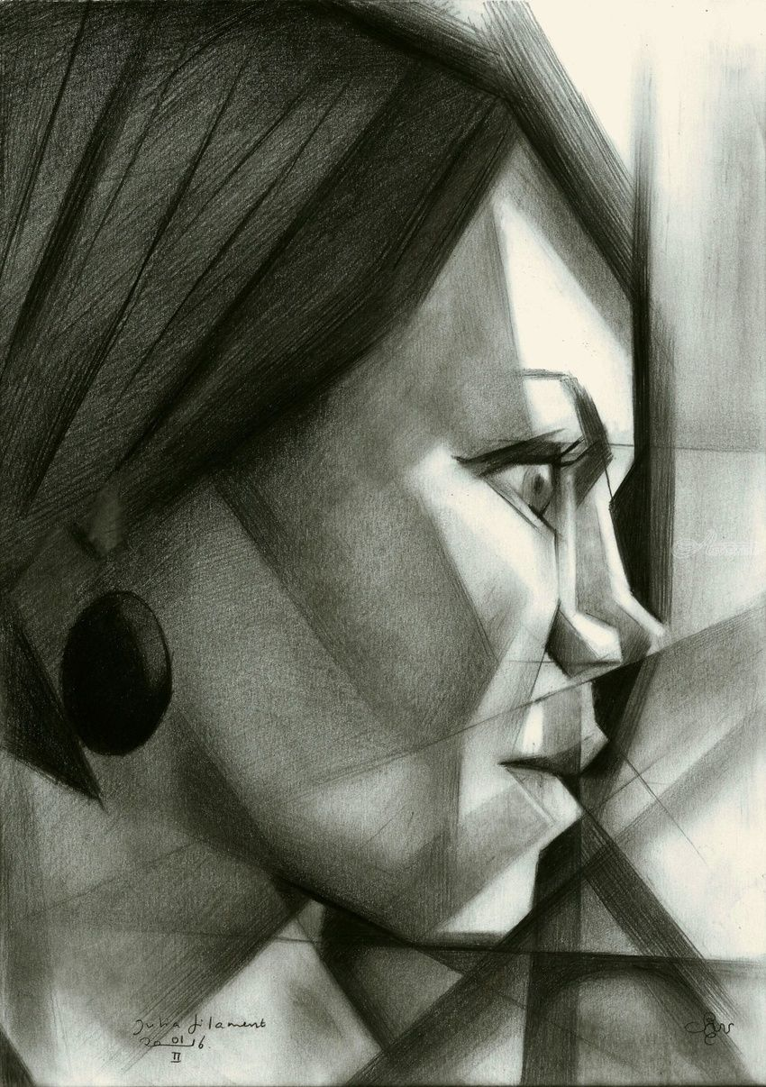 Julia Filament - 01-02-16 (sold), Drawings / Sketch, Abstract,Cubism,Fine Art,Impressionism,Realism,Surrealism, Composition,Figurative,Inspirational,People,Portrait, Pencil, By Corne Akkers