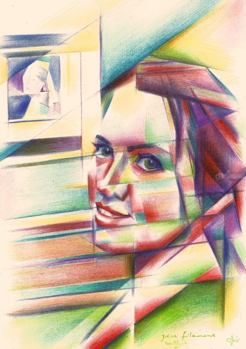 Julia Filament - 04-11-16 (sold), Drawings / Sketch, Abstract,Cubism,Fine Art,Realism,Surrealism, Anatomy,Composition,Figurative,Inspirational,People,Portrait, Pencil, By Corne Akkers