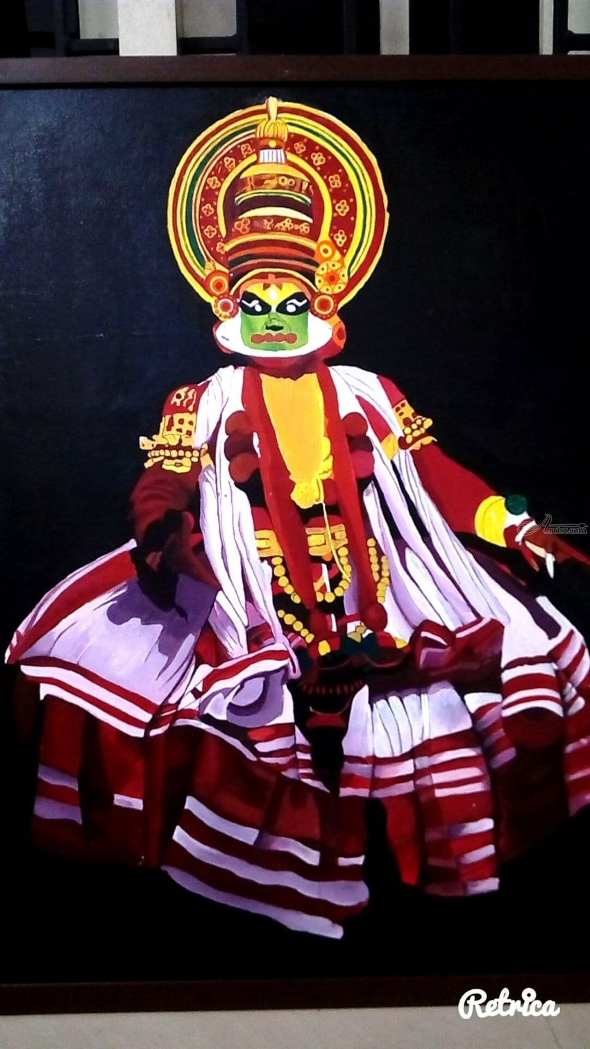 Kathakali Painting on canvas, Drawings / Sketch, Paintings, Abstract, Fine Art, Dance, People, Performance Art, Acrylic, Canvas, By Amal Raj Augustine