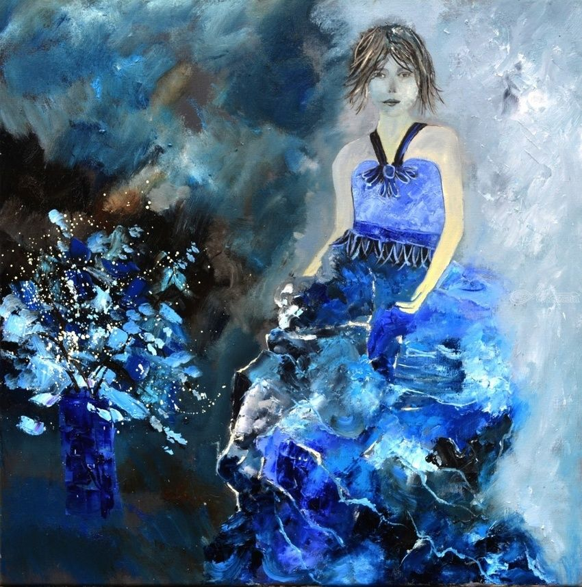 Lady in blue, Paintings, Expressionism, Decorative, Figurative, Canvas, By Pol Henry Ledent