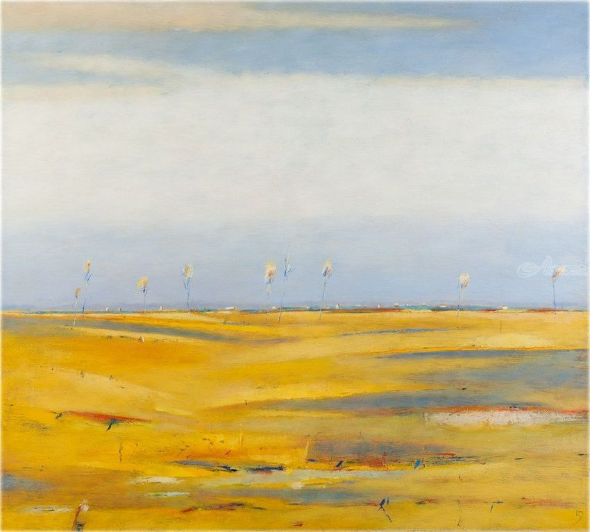 Landscape With Yellow Fields, Paintings, Abstract, Landscape, Canvas, By Kestutis Jauniskis