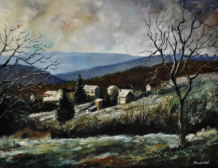 Last snow, Paintings, Impressionism, Landscape, Canvas, By Pol Henry Ledent