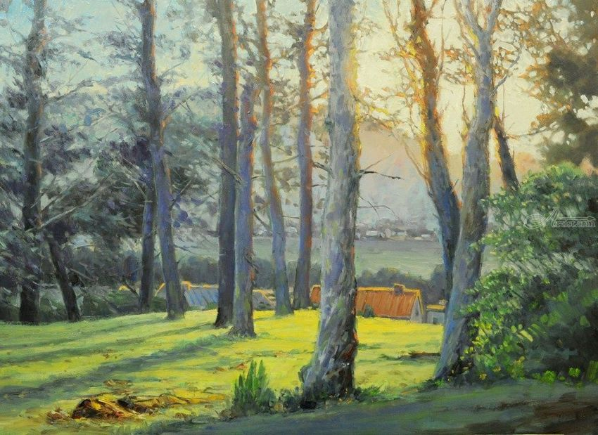 Late Afternoon Light, Paintings, Impressionism, Landscape, Canvas, Oil, By Mason Mansung Kang