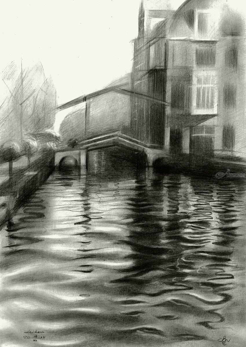 Leiden - 16-11-15 (sold), Drawings / Sketch, Abstract, Cubism, Fine Art, Impressionism, Realism, Surrealism, Architecture, Cityscape, Composition, Figurative, Inspirational, Landscape, Pencil, By Corne Akkers