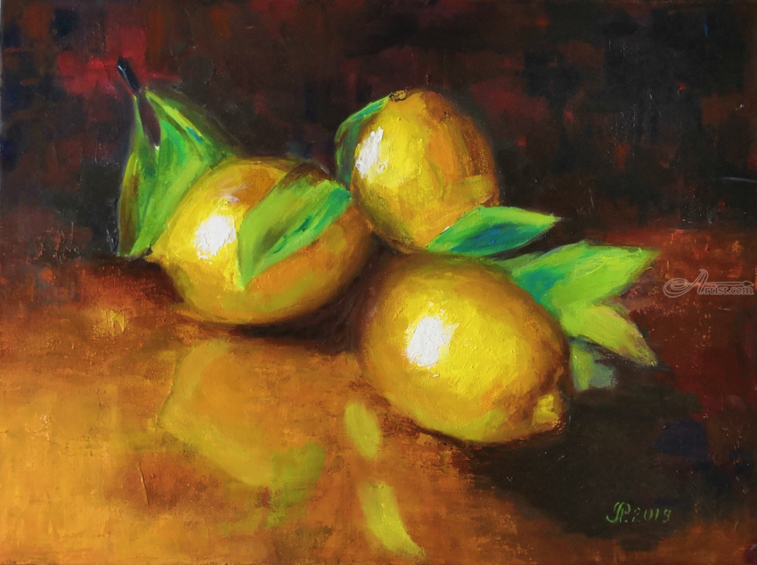 Lemon Still Life Fruit Painting On Canvas Paintings By