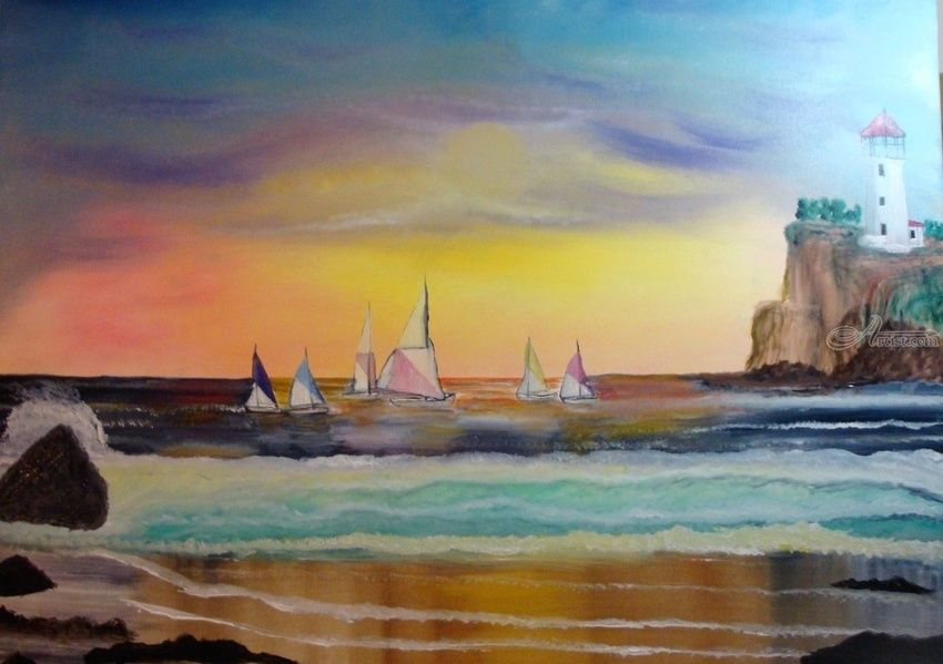 Let's Go Sailing, Paintings, Fine Art, Nature, Canvas,Oil,Painting, By Lana karin Fultz