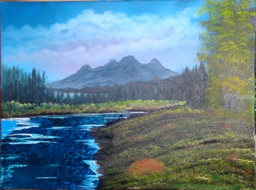 Let's Go to Colorado, Paintings, Fine Art, Landscape, Canvas,Oil,Painting, By Lana karin Fultz