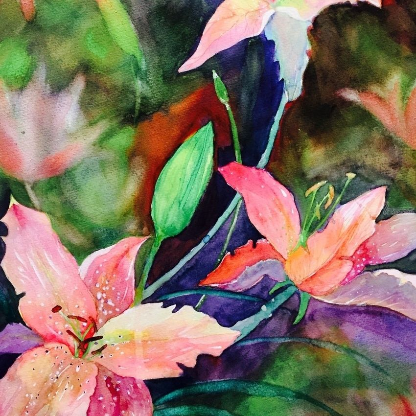 Lily, Illustration, Impressionism, Botanical, Gouache, Mixed, By Mahazabin Farhan