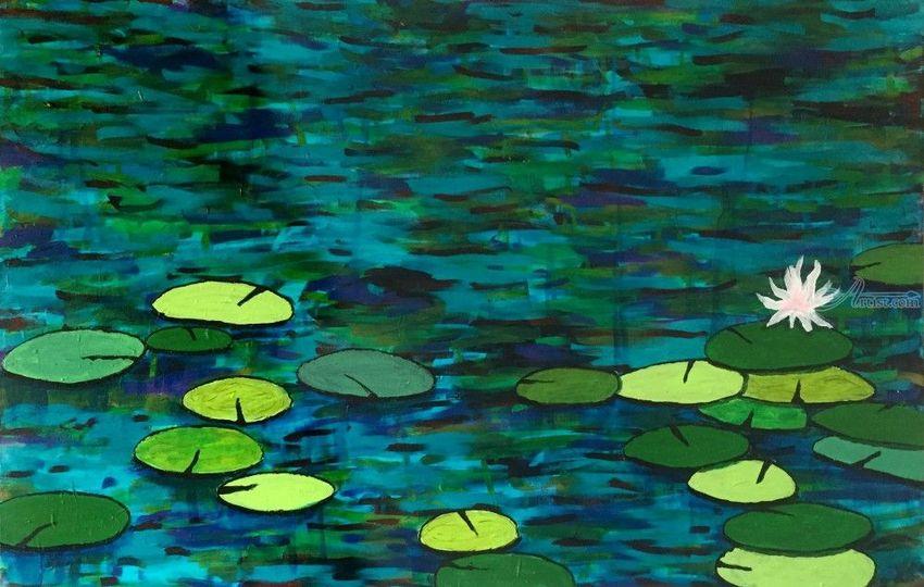 Lily Pond, Paintings, Expressionism, Botanical, Acrylic, By Rick Ruark
