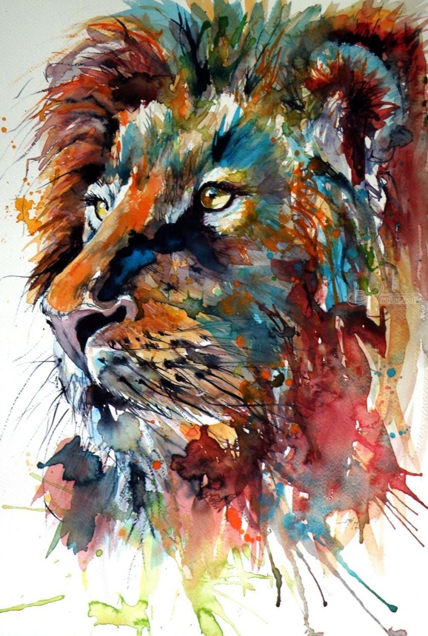 Lion, Paintings, Impressionism, Animals, Watercolor, By Kovacs Anna Brigitta