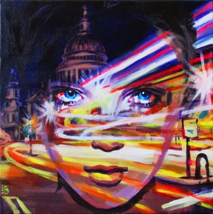 London time, Paintings, Fine Art, Surrealism, Architecture, Cityscape, Fantasy, Mythical, Portrait, Acrylic, Canvas, By Kateryna Bortsova