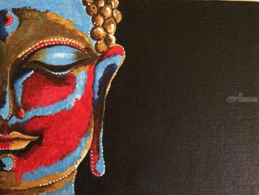 Lord budhha, Paintings, Abstract, Fine Art, Landscape, Acrylic, Canvas, By Malika Rohit Patel
