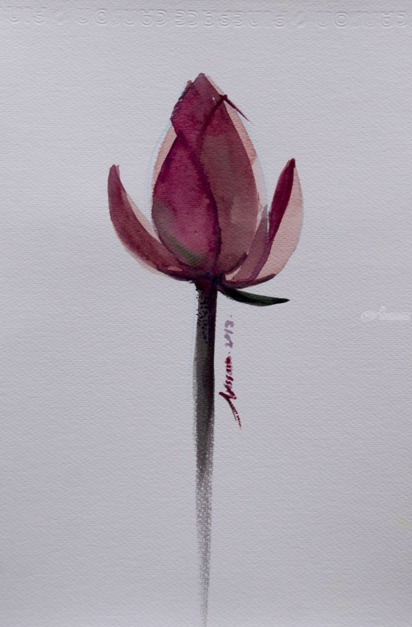 Lotus Flower Watercolor Painting On Paper Paintings By Arissara