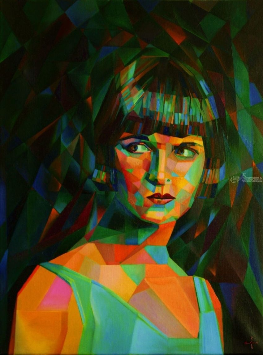 Louise Brooks - 26-10-14, Paintings, Abstract, Cubism, Expressionism, Fine Art, Impressionism, Realism, Surrealism, Composition, Figurative, Inspirational, People, Portrait, Oil, By Corne Akkers
