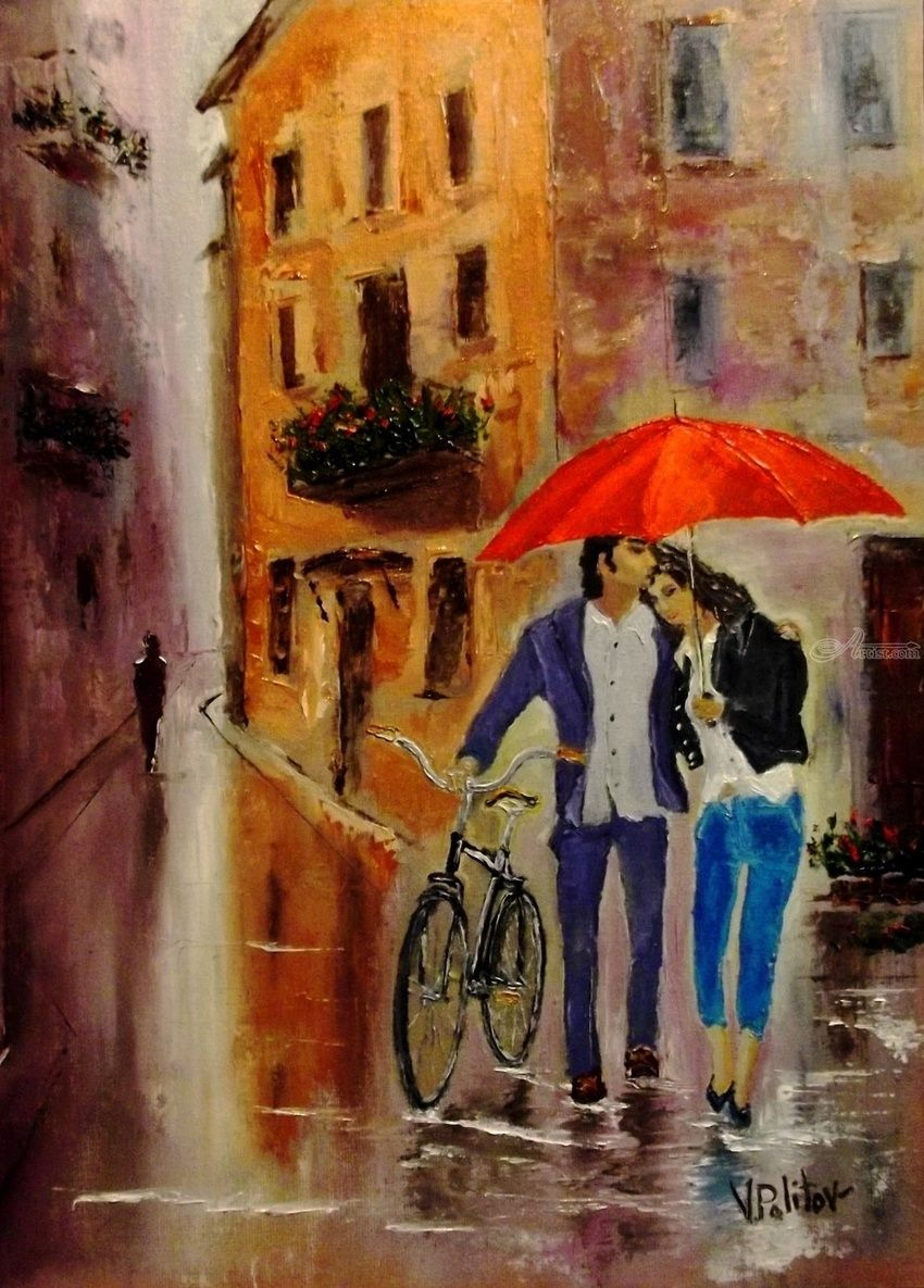Love in the old city, Paintings, Impressionism, Cityscape,Figurative, Canvas,Oil, By Valeriy Politov