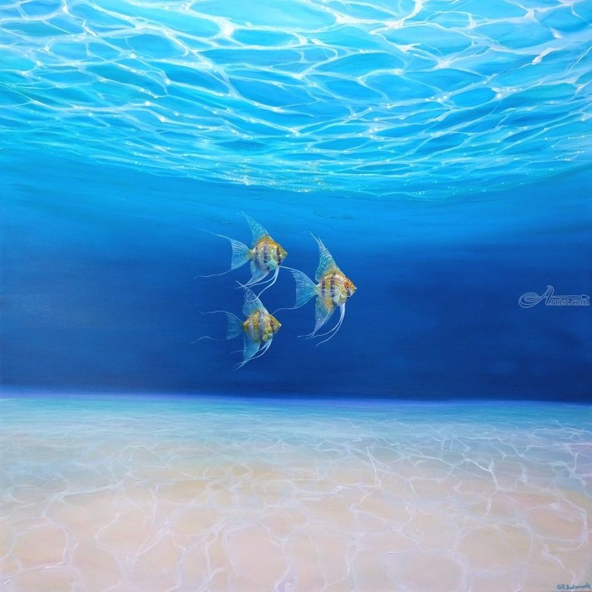 Magic Under the Sea - an underwater seascape with gold angel fish, Paintings, Fine Art, Seascape, Canvas, By Gill Bustamante