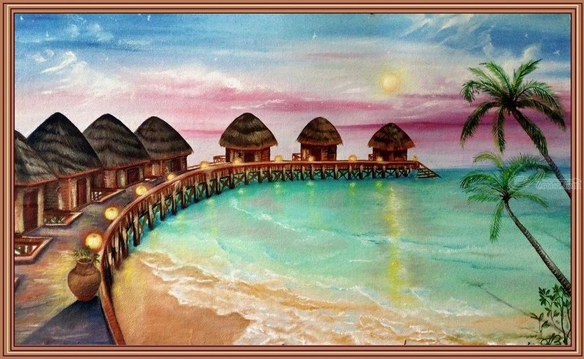 Maldive, Drawings / Sketch,Paintings, Fine Art,Romanticism, Nature, Canvas,Oil,Painting, By Irina Bardita
