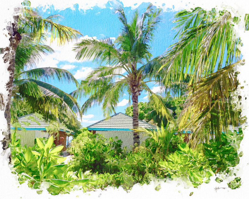 Maldives,beach Bungalow, Illustration, Paintings, Fine Art, Landscape, Watercolor, By Angelo