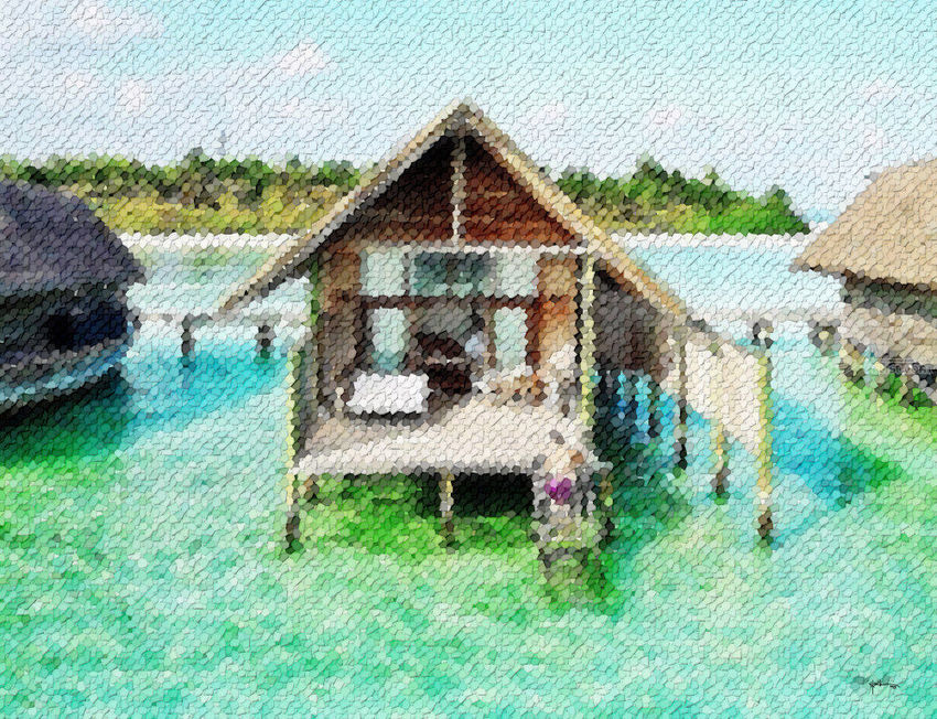 Maldives-deluxe-water-villa, Collage, Abstract, Window on the World, Mixed, By Angelo