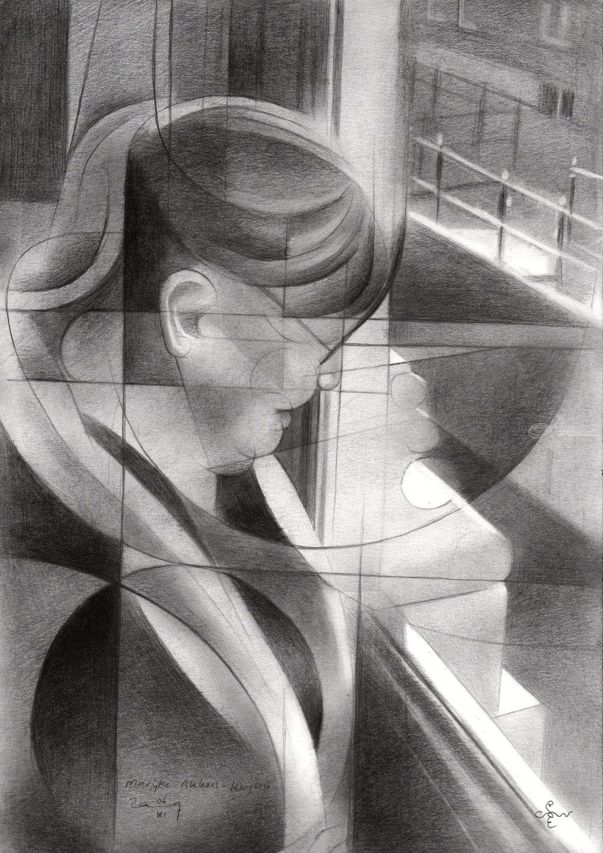 Marijke Akkers-Kersten - 06-11-17, Drawings / Sketch, Abstract, Cubism, Fine Art, Impressionism, Realism, Composition, Figurative, Inspirational, People, Portrait, Pencil, By Corne Akkers