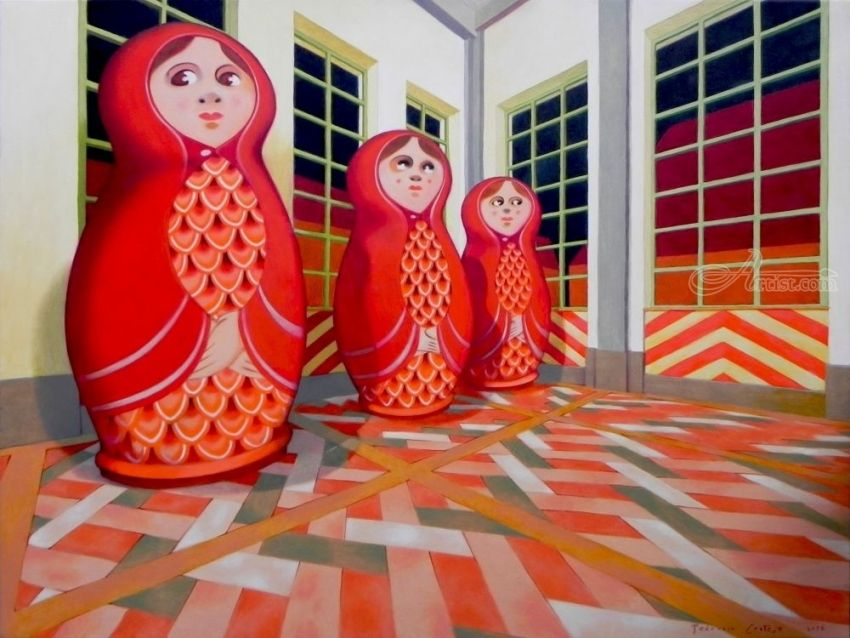 Matryoshka, Paintings, Surrealism, Symbolism, Figurative, Canvas, Oil, By federico cortese