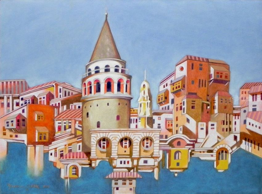 Memory of Istanbul, Architecture, Paintings, Expressionism, Fine Art, Realism, Architecture, Cityscape, Landscape, Oil, Painting, By federico cortese