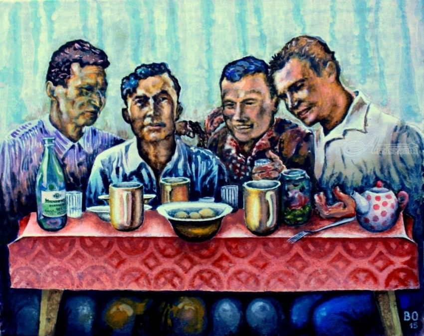 Men's meal, Paintings, Surrealism, Figurative, Acrylic, Canvas, By Victor Ovsyannikov