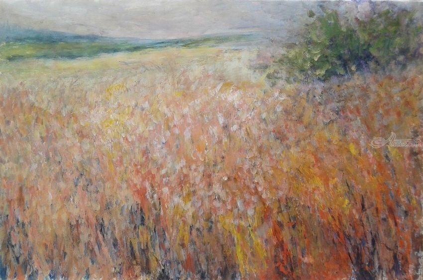 MERRY MEADOW, Paintings, Fine Art,Impressionism,Modernism, Floral,Land Art,Landscape,Nature, Acrylic, By Emilia Milcheva