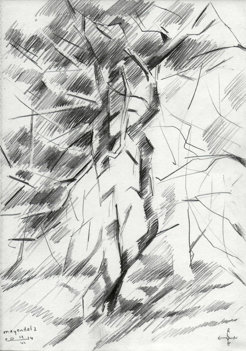 Meyendel 2 - 12-06-14, Drawings / Sketch, Abstract, Cubism, Fine Art, Impressionism, Realism, Composition, Figurative, Inspirational, Landscape, Nature, Pencil, By Corne Akkers