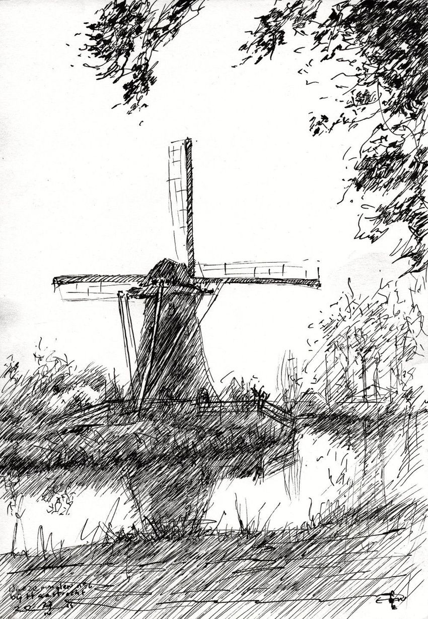 Mill near Haastrecht (Zuid-Holland, Netherlands - 27-04-14, Drawings / Sketch, Abstract,Fine Art,Impressionism,Realism, Composition,Figurative,Inspirational,Landscape,Nature, Ink, By Corne Akkers