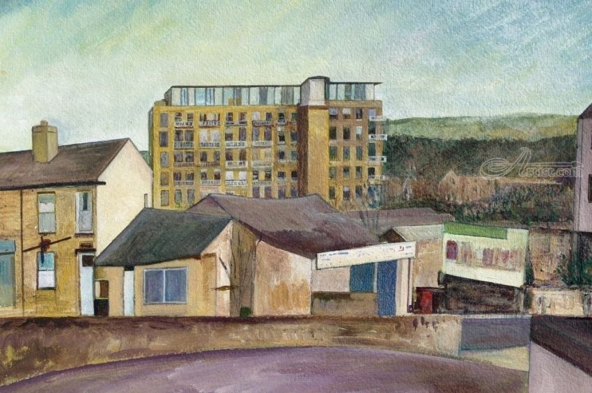 Mill Royd Apartments,Brighouse, Paintings, Realism, Architecture,Landscape, Mixed,Painting, By Matthew David Evans