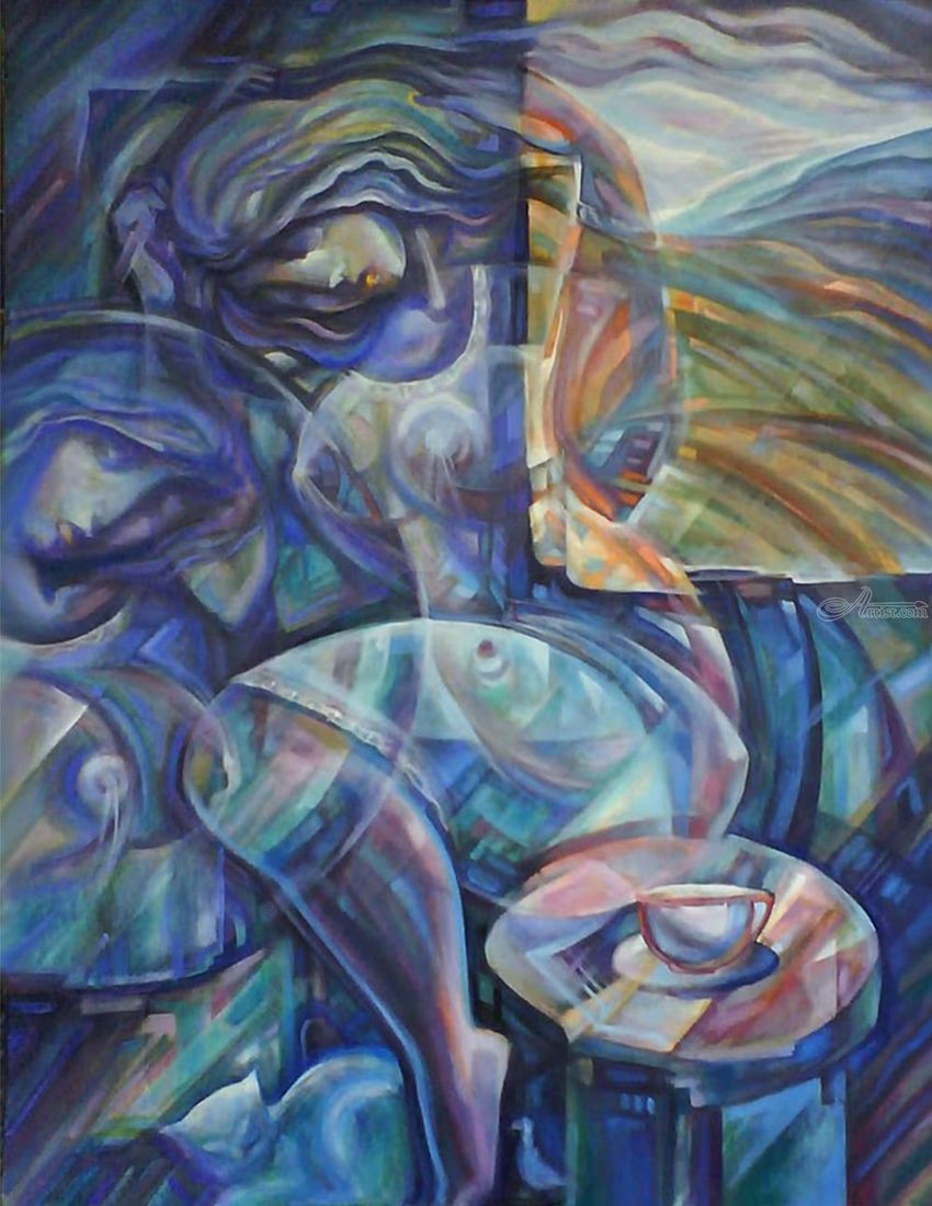 Morning coffee, Paintings, Modernism, Figurative, Acrylic, By Ihor Khoynyak