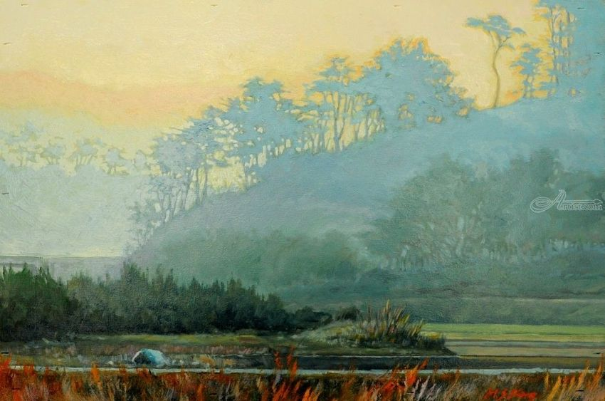 Morning Fog, Paintings, Impressionism, Landscape, Canvas, Oil, By Mason Mansung Kang