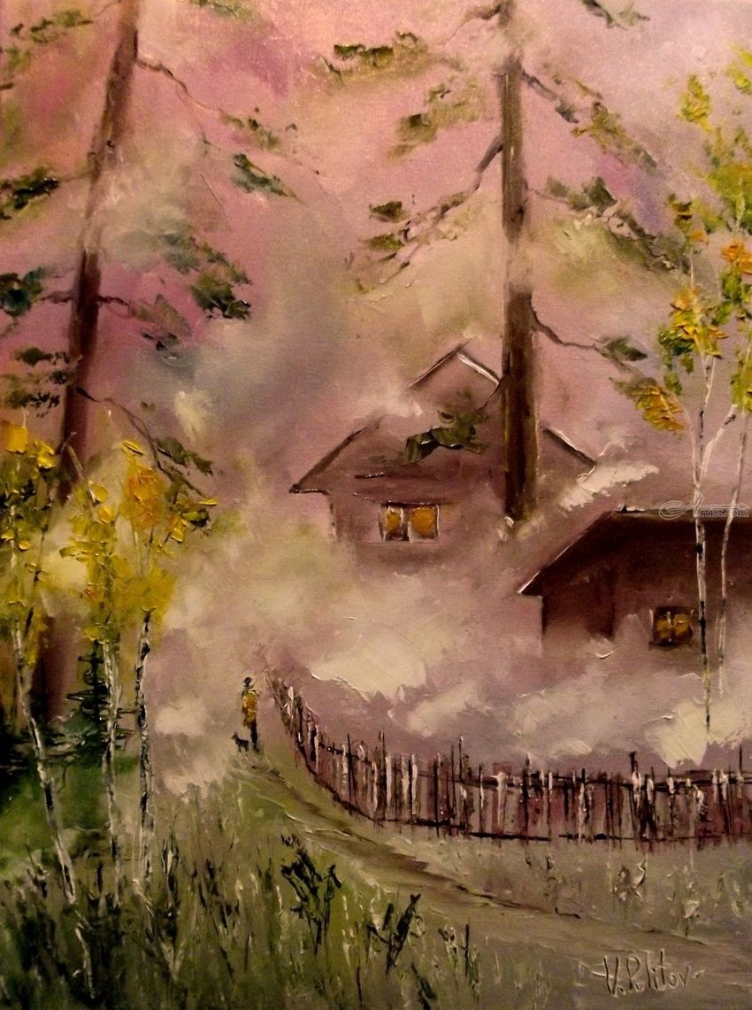 Morning misty, Paintings, Impressionism, Landscape, Canvas, By Valeriy Politov