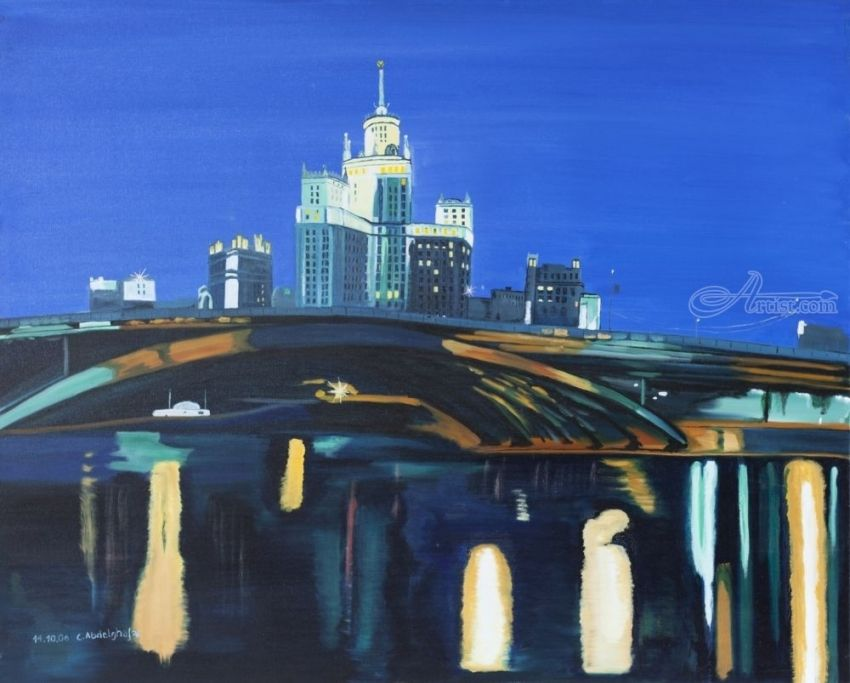 Moscow by night, Paintings, Fine Art, Architecture, Canvas,Oil,Painting, By Claudia Luethi alias Abdelghafar