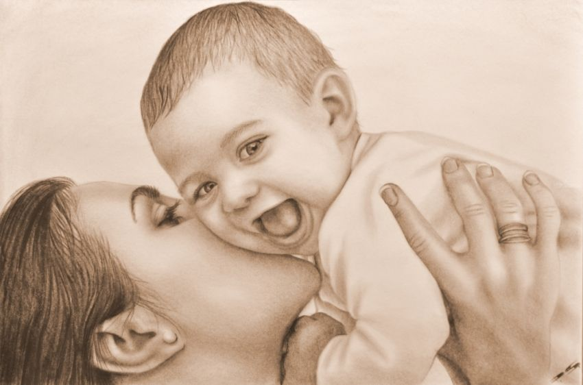 Mother and Child, Drawings / Sketch, Expressionism,Realism, Figurative,People,Portrait, Canvas,Oil, By Stefan Pabst