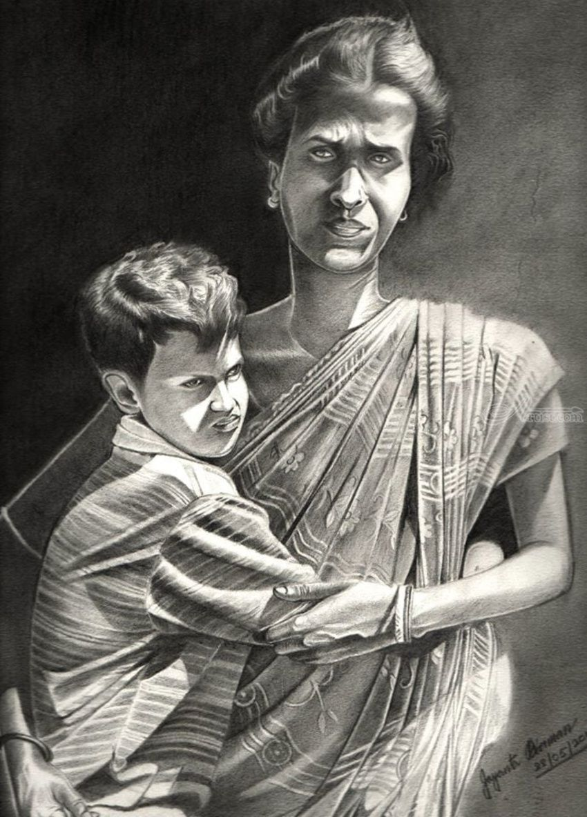 Mother son drawings sketch fine art photorealism realism 3