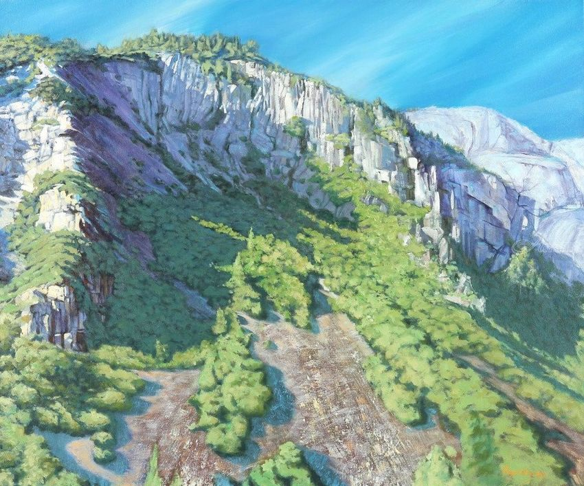 Mountaintop Yosemite, Paintings, Impressionism, Landscape, Canvas, Oil, By Mason Mansung Kang