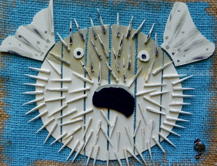 Assemblage by briz conard pop art nature created in for Puffer fish sand art